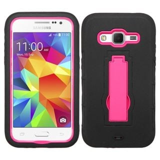 Insten Symbiosis Soft Silicone/ PC Dual Layer Hybrid Rubber Phone Case Cover with Stand For Samsung Galaxy Core Prime