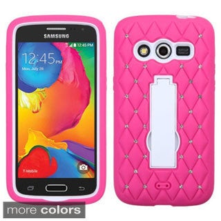 Insten Symbiosis Soft Silicone/  PC Dual Layer Hybrid Rubber Phone Case Cover with Stand/  Diamond For Samsung Galaxy Avant