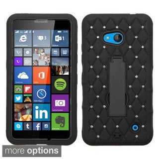Insten Symbiosis Soft Silicone/ PC Dual Layer Hybrid Rubber Phone Case Cover with Stand/ Diamond For Microsoft Lumia 640