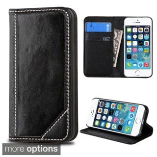 Insten Leather Wallet Flap Pouch Phone Case Cover with Stand For Apple iPhone 5/ 5S/ SE
