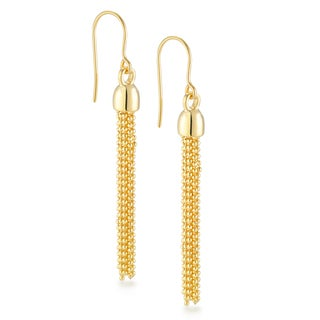 18k Gold Overlay 10-strand Multi Chain Drop Earrings