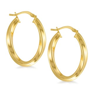 18k Gold Overlay Twisted Oval Hoop