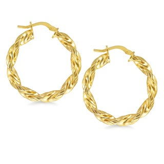 18k Gold Overlay Diamond-cut Twisted Oval Hoop