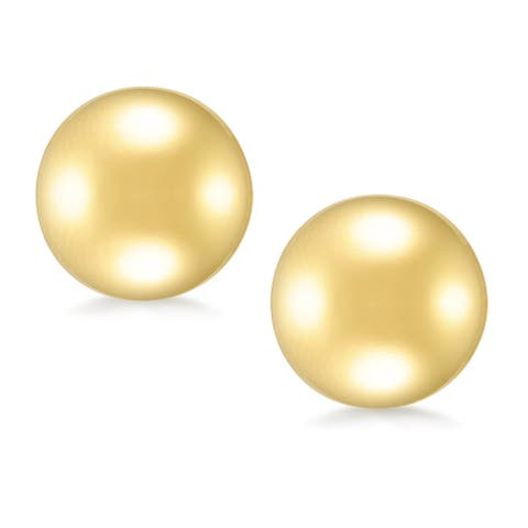 Forever Last 18 k Gold Overlay 12mm Round Ball Stud Earrings