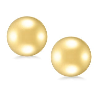 18k Gold Overlay 12mm Round Ball Stud Earrings
