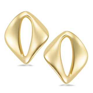 18k Gold Overlay Geometric Polished Stud Earrings