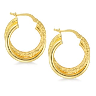 18k Gold Overlay Double Tube Hoop