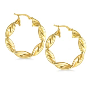 18k Gold Overlay Large Round Twisted Tube Hoop
