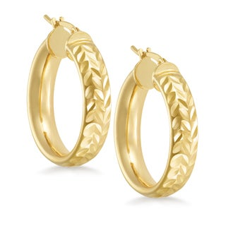 18k Gold Overlay Diamond-cut Round Hoop