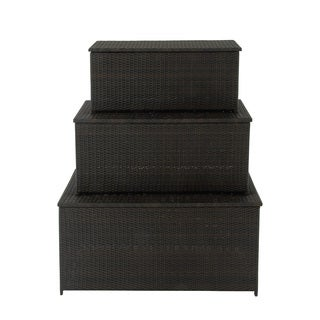Pretty Metal PE Rattan Trunks (Set of 3)