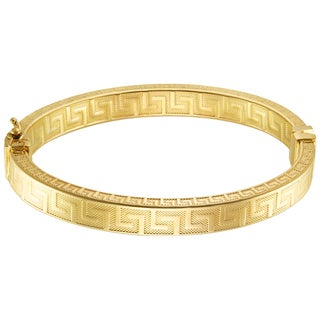 Forever Last 18 kt Gold Plated Oval Bangle with Greek Key Design