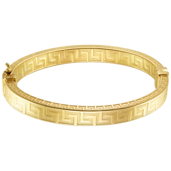 18k Gold Overlay Oval Bangle With Greek Key Design