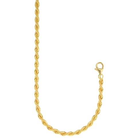 Forever Last 18 k Gold Overlay 4mm 20-inch Solid Rope Chain