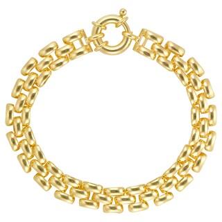 18k Gold Overlay 3-row Pantera 8-inch Link Bracelet