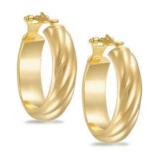 18k Gold Overlay Oval Polished Omega Back Hoop