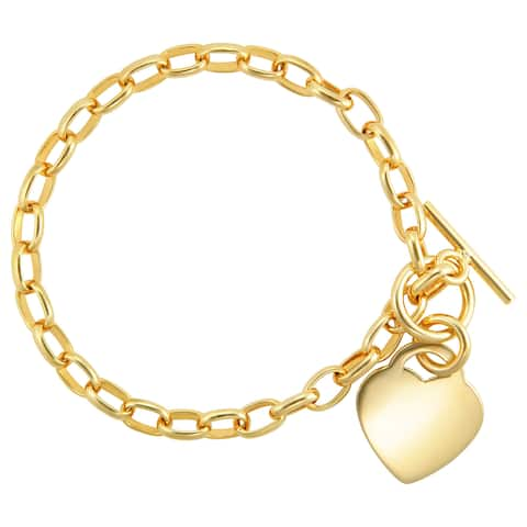 Bronzoro 18 kt Gold Plated Rolo Polished Heart Bracelet