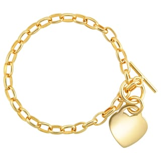 18k Gold Overlay 7.5-inch Rolo Bracelet With Polished Heart And Toggle Clasp