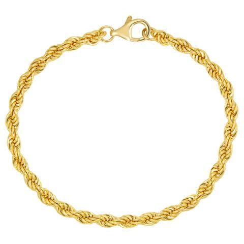 18k Gold Overlay 4mm Solid Rope 7.5-inch Bracelet