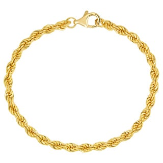 18k Gold Overlay 4mm Solid Rope 7.5-inch Bracelet