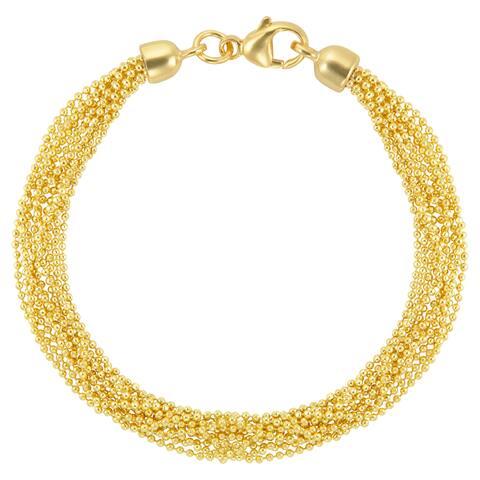 18k Gold Overlay Multi 10-strand Bead Chain 7.25-inch Bracelet