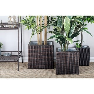 Graceful Metal Rattan Planter (Set of 3)