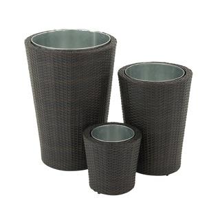 Enthralling Metal Rattan Planter (Set of 3)