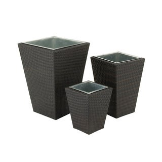 Sassy Metal Rattan Planter (Set of 3)