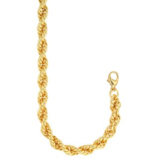 18k Gold Overlay Large 24-inch Rope Chain
