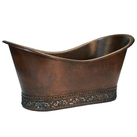 "Handmade 67"" Hammered Copper Double Slipper Bathtub (Mexico)"