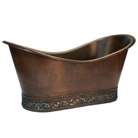 "Handmade 67"" Hammered Copper Double Slipper Bathtub (Mexico)"