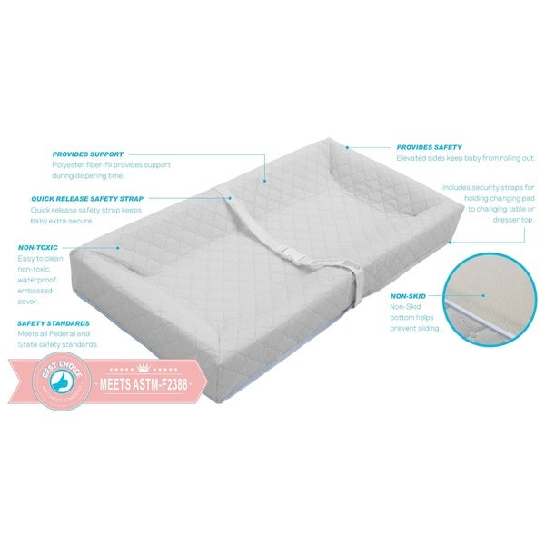 "Made in USA 30/"" LA Baby Waterproof Contour Changing Pad Easy to Clean Safety"