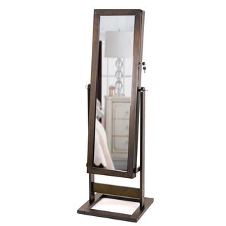 Hives & Honey Trinity Cheval Espresso Standing Mirror Jewelry Armoire