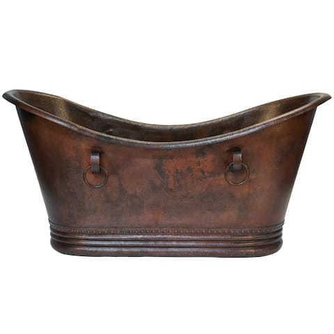 Premier Copper Products 72-inch Hammered Copper Double Slipper Bathtub With Rings