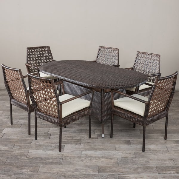 Franklyn Outdoor 7-piece Wicker Dining Set with Cushions by Christopher Knight Home
