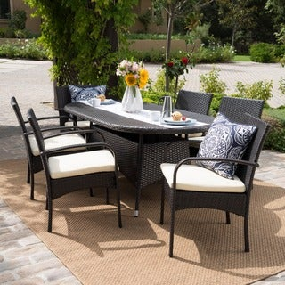 Anthony Outdoor 7-piece Wicker Dining Set with Cushions by Christopher Knight Home