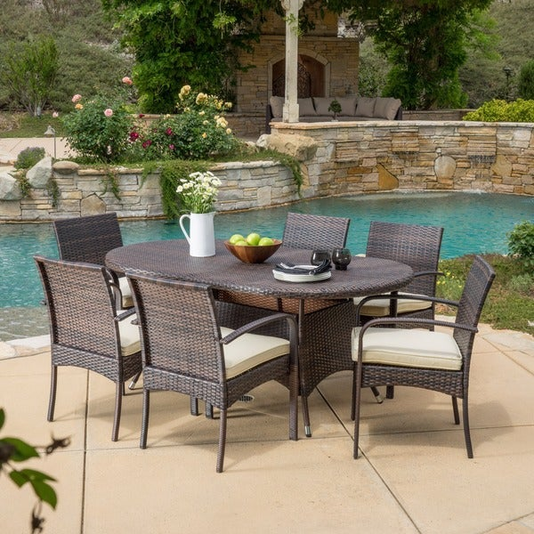 Anthony Outdoor 7 Piece Wicker Dining Set With Cushions By