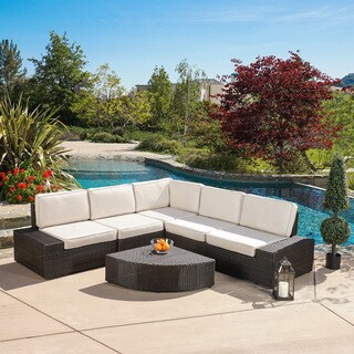 Christopher Knight Home San Vicente Outdoor 6-piece Aluminum Sofa Set with Sunbrella Cushions