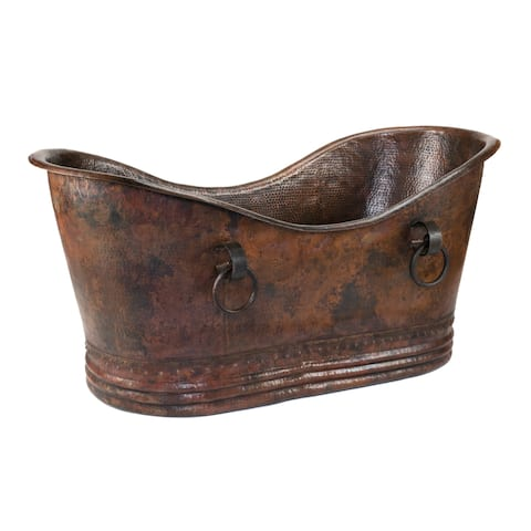 Premier Copper Products 67-inch Hammered Copper Double Slipper Bathtub With Rings