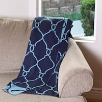 Double Knit Lattice Pattern 50 x 60-inch Reversible Throw
