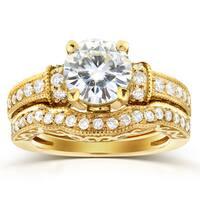 Annello by Kobelli 14k Yellow Gold Moissanite 3/5ct TDW Diamond Antique Bridal Ring Set (
