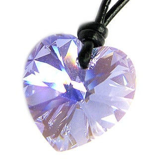 Queenberry Austrian Crystal Elements Violet Heart Charm Pendant with Black Leather 1 mm Adjustable