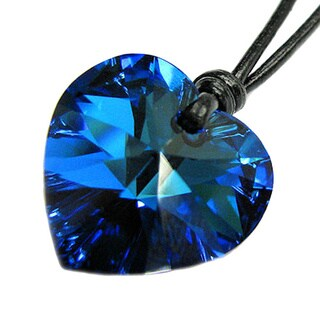 Queenberry Austrian Crystal Elements Bermuda Blue Heart Charm Pendant with Black Leather 1 mm Adjus