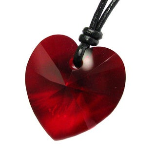 Queenberry Austrian Crystal Elements Siam Heart Charm Pendant with Black Waxed Cotton 1 mm Adjustab