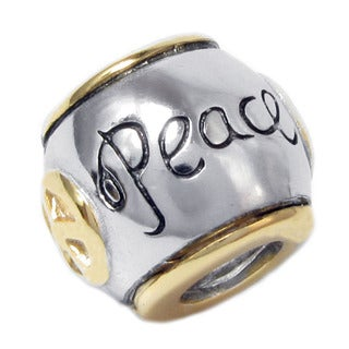 Queenberry Sterling Silver Peace Sign with Gold Overlay Accent Barrel Shaped European Bead Charm