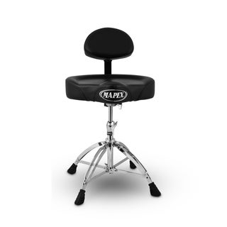 Mapex Double Braced Height Adjustable Saddle Seat Back Rest Drum Throne