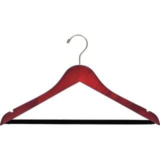 Cherry Finish Suit Hanger with Black Velvet Bar (Box of 100)