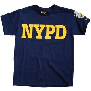 NYPD Kids Navy Unisex Yellow Chest And Sleeve Patch Tee