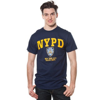 Adult NYPD Yellow Printed Navy T-shirt