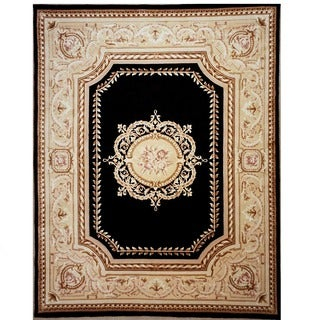 Black and Gold Hand-knotted Orleans Rug (5'9' x 8'9')