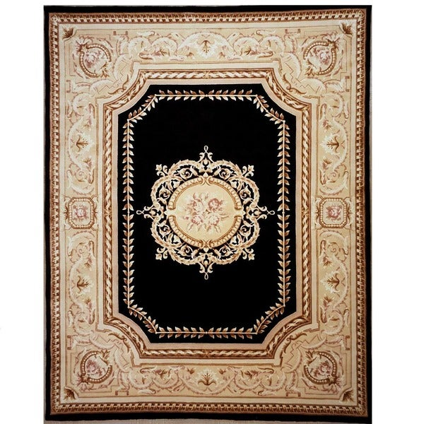 Black and Gold Hand-knotted Orleans Rug